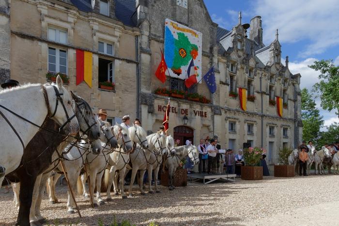 Gardians devant le château