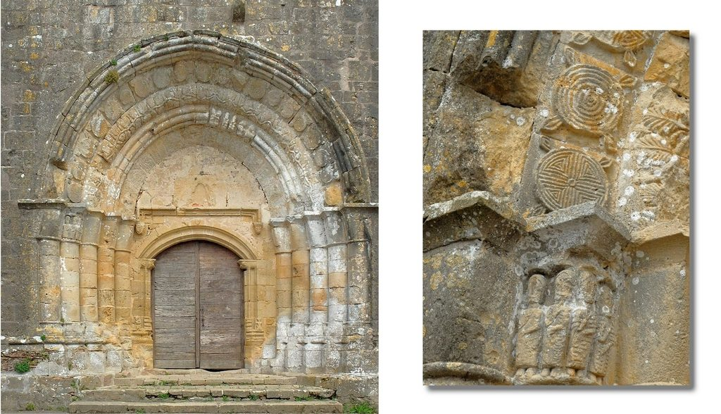 Eglise Saint-Barthélémy, porche d'entrée et détail des sculptures